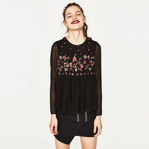 Zara Embroidered Plumetis Top